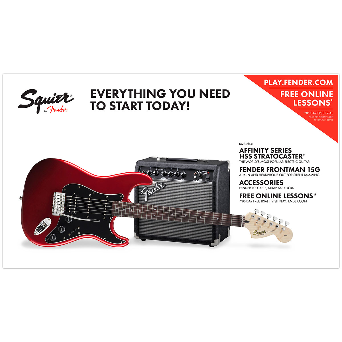 Squier Affinity Series Stratocaster HSS Pack IL CAR - Pack iniciación